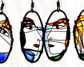 Unique Earrings - Faces Dark Copper Earrings - wire jewelry - wearable art