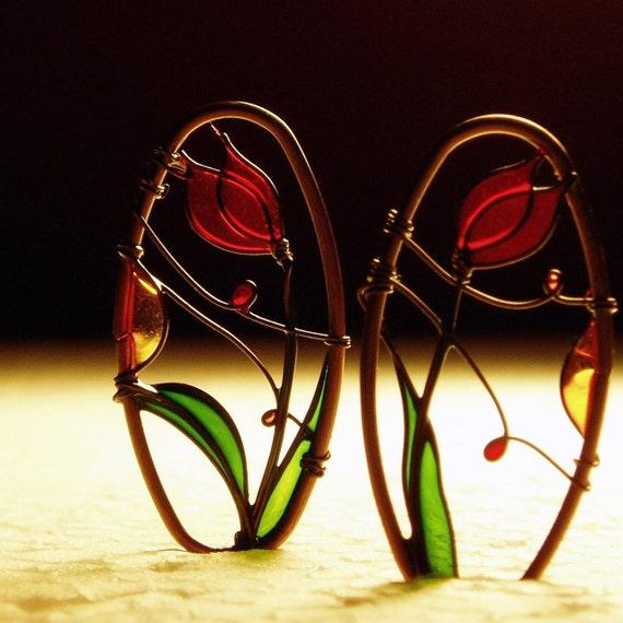 Red Tulips Copper Earrings