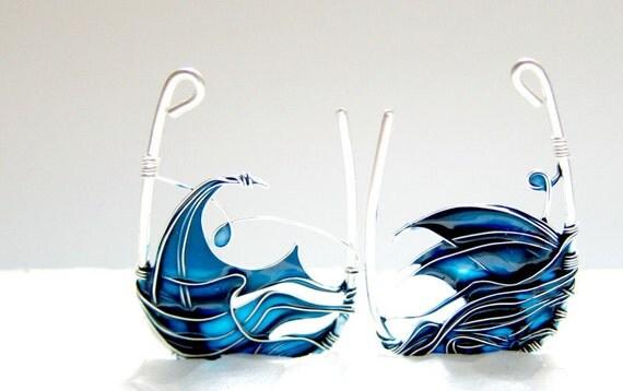 Blue Sea Earrings. Blue Earrings. Sterling Silver Earrings.