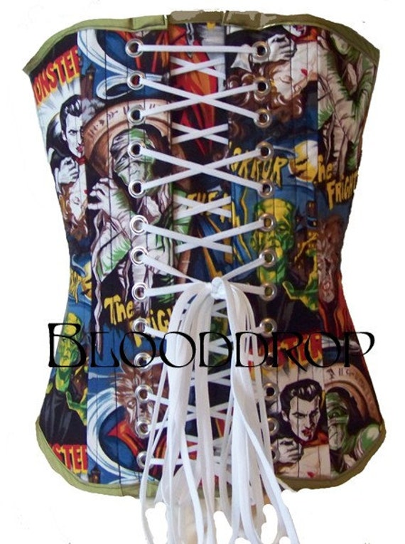 RESERVED for Natanyaelka Sale Blooddrop Old School Monsters Overbust Corset Creepy Horror Vampire Ready To Ship Size Small - Extra Small