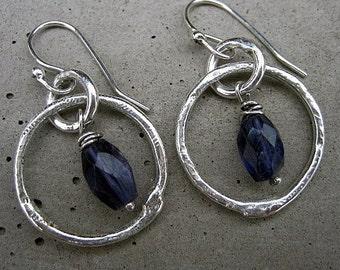 Midnight Moon Earrings -  iNk jewelry in sterling silver iolite