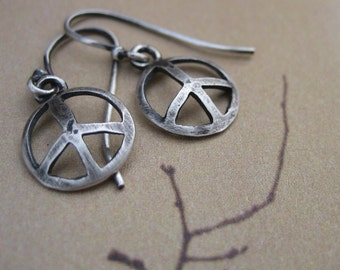 Peace Sign Earrings - Small Simple Domed Sterling Statement jewelry