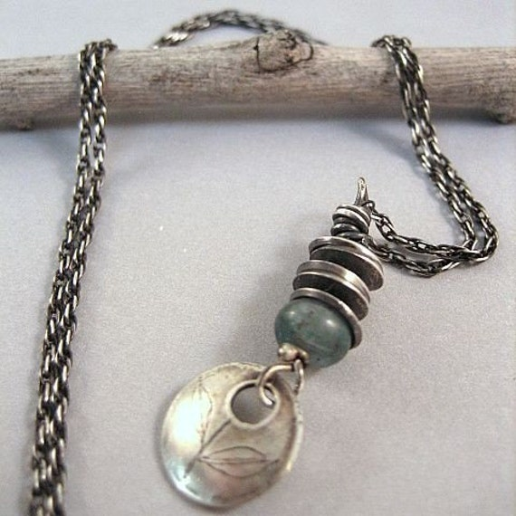 OCEAN NECKLACE - Sterling silver Discs with aquamarine gemstone drop with Leaf Design