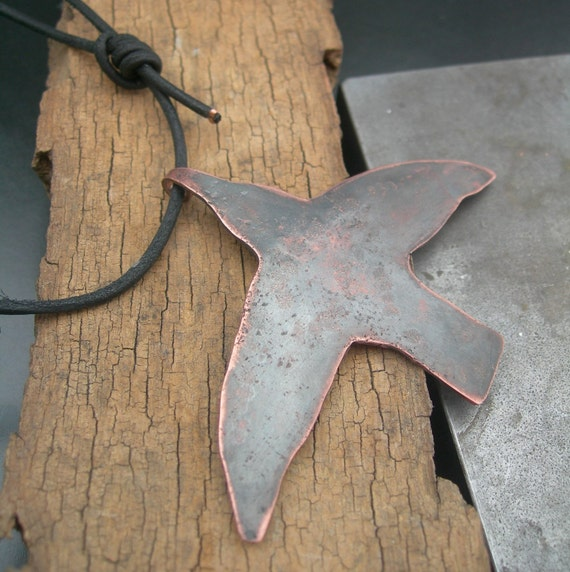 Recycled Frida Kahlo Hummingbird Necklace - Homage to a great painter- Solid Copper