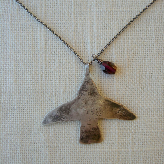 Small Humming Bird Necklace - Homage to Frida Kahlo- Sterling Silver