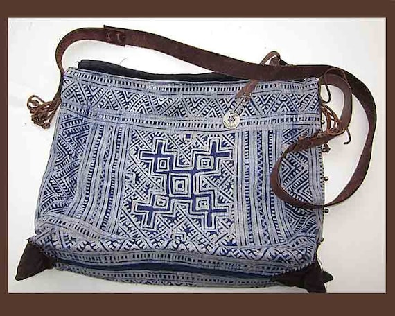 Rich Hippie Blue and White Batik and Leather Handbag