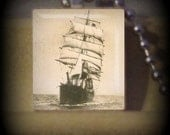 Pirate Ship  (V 2) Vintage Scrabble Tile Pendant ..Buy 3 Get 1 Free