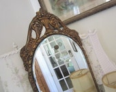 Vintage Arched Mirror - Beveled - Shabby French Cottage - Antique - Barbola Gesso