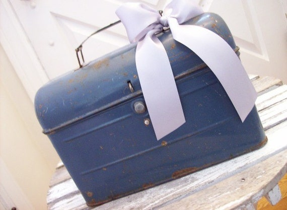 Vintage Shabby Cottage Industrial Metal Lunch Box Pail Purse Floral Fabric Lined Storage Container
