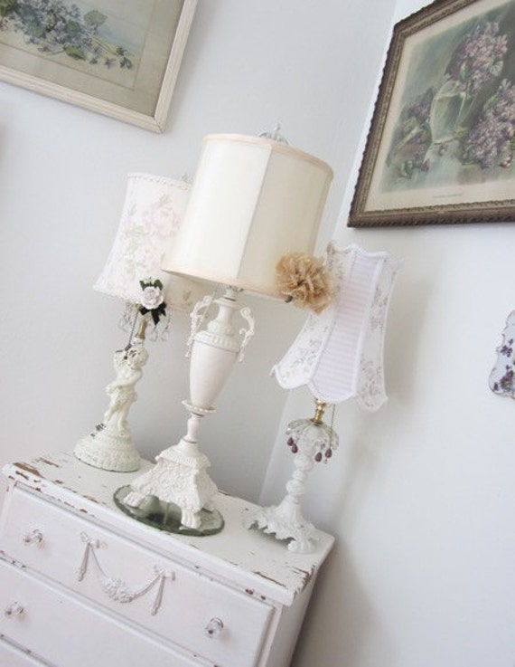 RESERVED - Vintage Urn Lamp - Shabby French Cottage - Art Nouveau