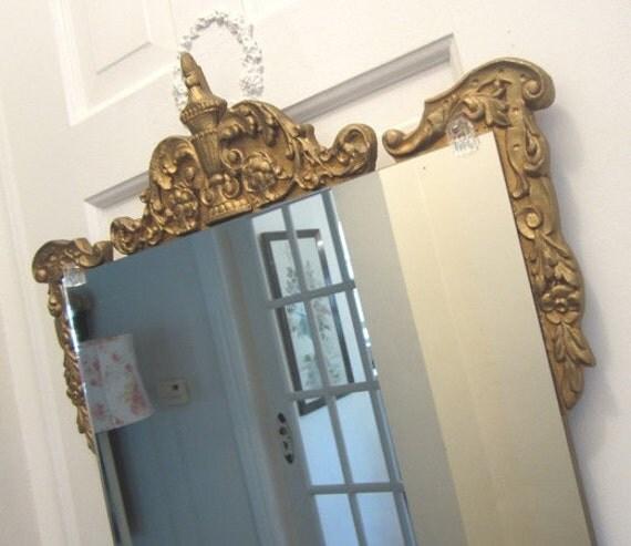 SALE - Vintage Mirror - Shabby French Cottage Paris Apt - Gilded Antique Barbola Gesso Frame