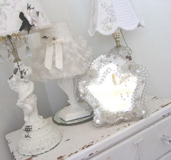 Vintage Mirror - Etched Venetian Murano - Vanity Boudoir - Shabby Prairie Farmhouse Chic