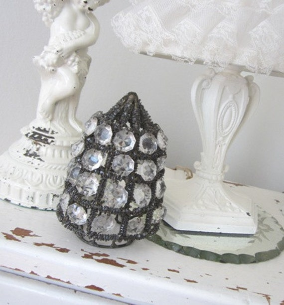 Vintage Beaded Shade - HTF Petite Size - Antique - Shabby French Cottage Paris Apt.