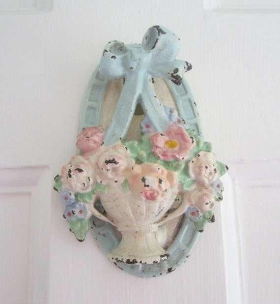 RESERVED LITTLEOLDWEDDINGSHOP - Antique Hubley Door Knocker - Vintage Basket of Roses - Shabby Cottage - Victorian Era Cast Iron