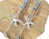 Starfish Fish Earrings Chain Stone Dusty Blue Dangle