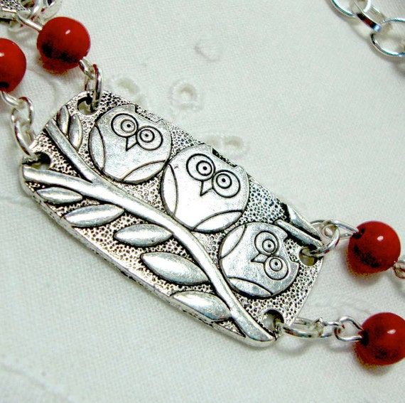 Owl Bib Necklace Red Berry Stones Three Owls on a Branch - Tribal Boho - antiqued silver rectangles with 3 birds