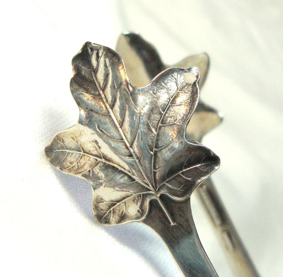 Vintage Sterling Silver Sugar Tongs Maple Leaf 1920s