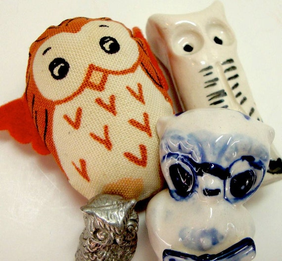 Vintage Owls Birds Delft Blue Pottery Metal and Cloth Collection