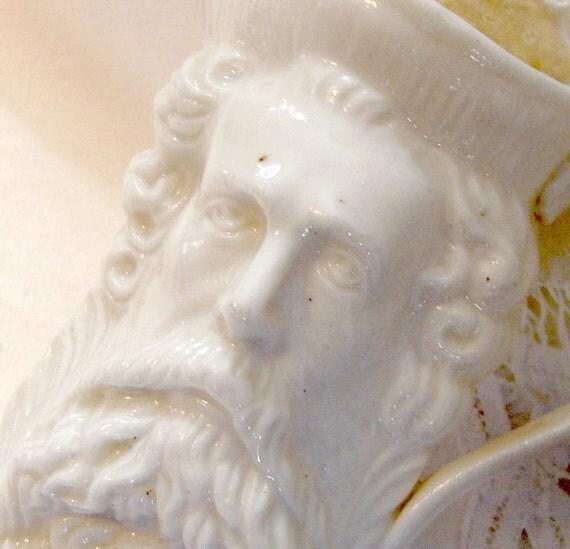 Vintage Two Face Creamer Ivory Parian Porcelain China - Reserved for Elizabeth