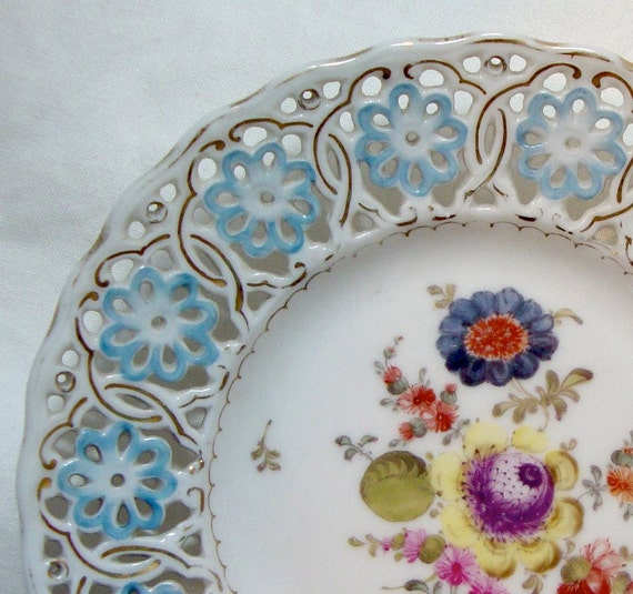 Antique Meissen Plate Gilded Pierced with Flowers Blue Yellow Pink