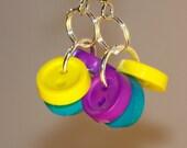 Tri Button Bunch Dangle Earrings