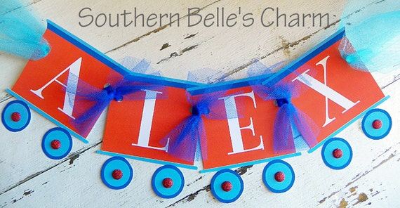 Train Name Banner...Set of 1 Name Banner up to 5 Letters