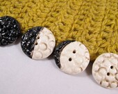 4 Ceramic Buttons - Moon Phases - Moon Buttons
