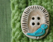 2 Songbird Pie Buttons - Handmade Ceramic Buttons - Bluebird Buttons - Bird Button - Blue - Woodland