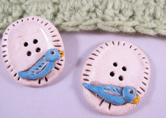 2 Songbird Pie Buttons - Bird Buttons - Handmade Buttons