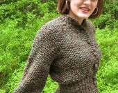 Green & Brown Peplum Cardigan in a neutral combination subtle enough to work with very many colors and still stand out.