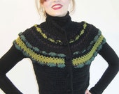 BASIA DESIGNS Black and green cotton Victorian vest  crochet in a corset style with a scalloped shoulder yoke.