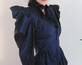Vintage Dark Blue Black Satin Norma Kamali Jacket from Basia's Private Collection