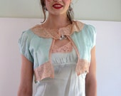 Vintage Silk and Lace Mint Green Lingerie Set from Basia's Private Collection - Reserved for Carol
