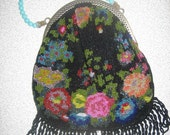 Vintage Rose Beaded Evening Bag/Purse from Basia's Private Collection