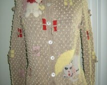 """Vintage """"Raining Cats and Dogs""""  Sweater by Patricia Roberts"""