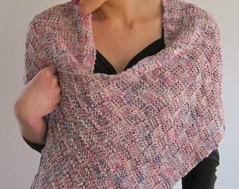BASIA DESIGNS Hand Knit all Silk Ribbon Shawl/Wrap/Scarf - Free U.S. Shipping