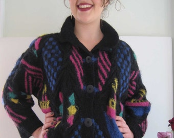 Vintage Patricia Roberts Hand Knit Black Mohair Tugboats Cardigan from Basia's Private Collection