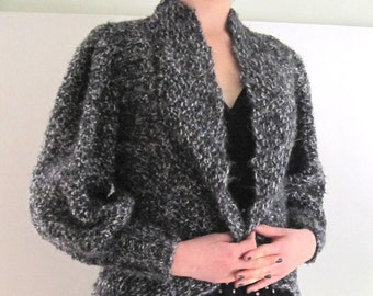 Basia Designs Hand Knit Grey Tweed Faux Mohair Tuxedo Sweater
