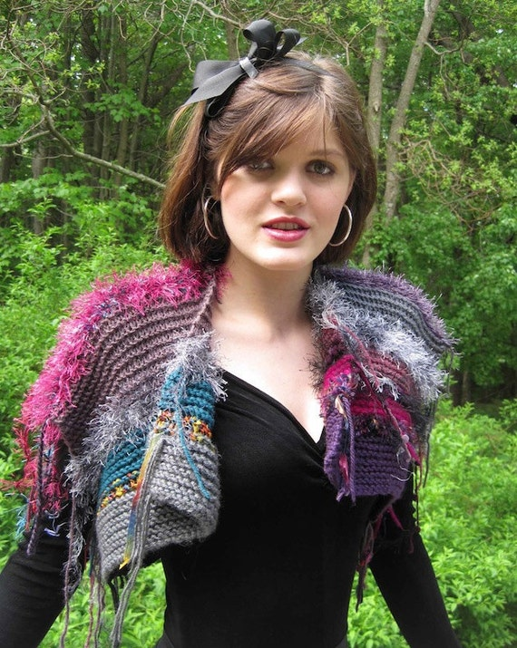 BASIA DESIGNS Hand knit, cozy, multicolored shrugs in lovely colors - Free US Shipping