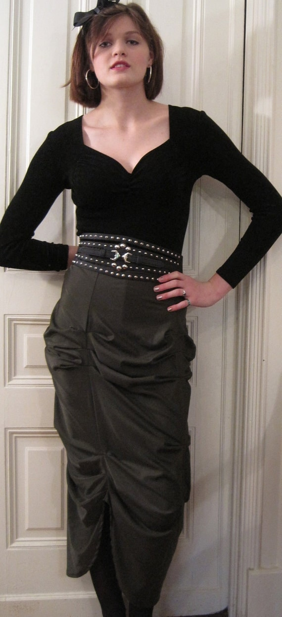 "Deep Olive Rayon & Lycra long ""Basia"" skirt"