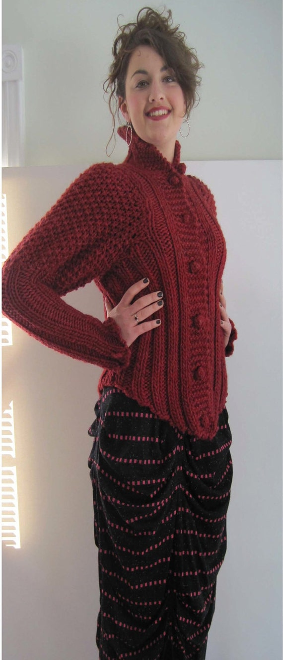 Basia Designs Red Wool Tudor Cardigan with V Point collar, cuffs and hems.