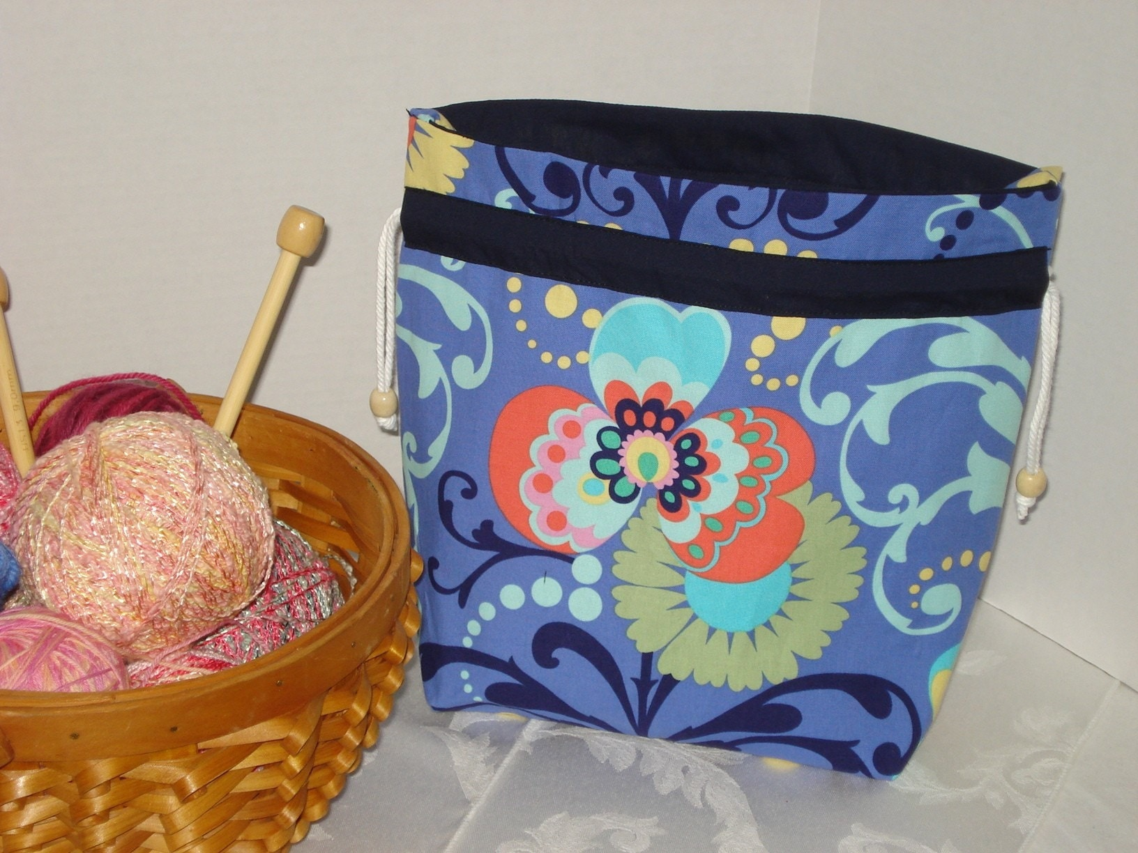 knitting Bag Small Amy Butler Love Paradise Garden with 8