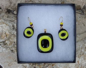 Yellow and Black Fused Glass Pendant and Earrings