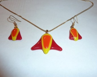 "Fused Glass ""Space Shuttle"" Pendant and Earring Set"