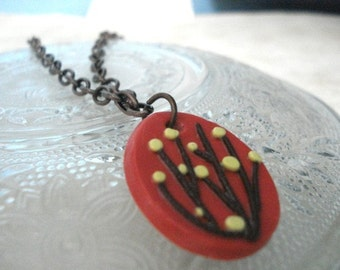 Coral  & Copper Budding Tree Necklace