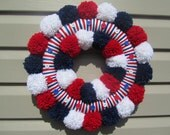 Red White and Blue Patriotic Yarn Wreath with Red White and Blue Pom Poms and Buttons