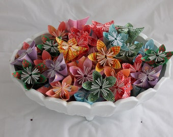 12 Assorted Origami Kusudama Flowers Without Stems