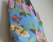 Inventory reduction SALE reusable gift bag, blue with pink flowers and stripes with butterflies. recycle, Christmas gift, sturdy fabric