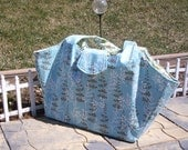 SALE inventory reduction**One of a kind Large blue brown diaper bag or overnight bag. Baby blue, baby shower gift for first baby.