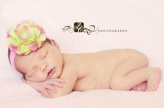 Pink limeaide flower with pink nylon interchangeable headband